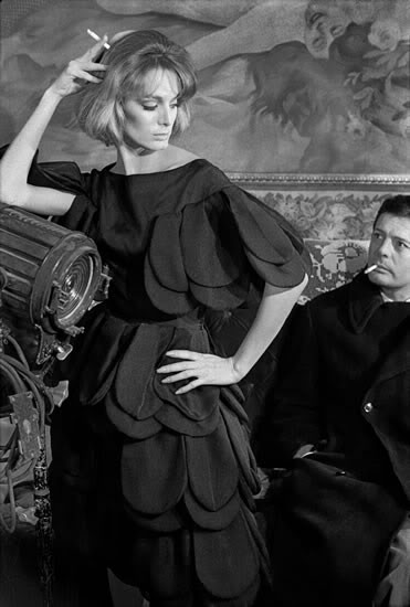Fashion for Harpers BazaarModel Deborah Dixon, wearing Italian Haute Couture, with Marcello Mastroianni, 1962, Rome